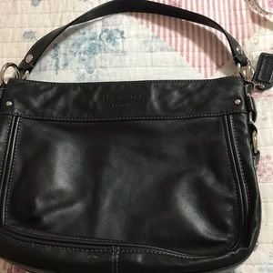 Black leather coach purse